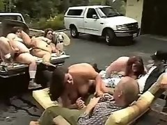Crazy fatties amuse in parking lot