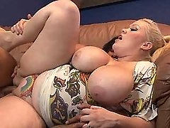 Sexy busty fatty jumps on hard dick