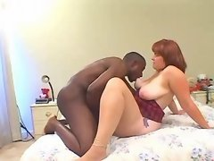 Blackie drilling redhead bbw on bed