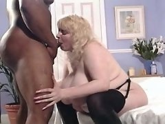 Fat blonde fucked by muscular guy